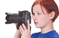 Teen girl photographer Stock Image