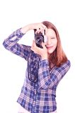Teen girl photographer Royalty Free Stock Photography