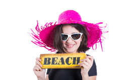 Teen girl with picture hat. Teen girl with pamela and beach poster display Stock Photography