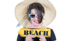 Teen girl with picture hat. Teen girl with pamela and beach poster display Stock Photos