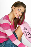 Teen girl in pink Stock Photo