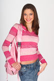 Teen girl with pink clothes Royalty Free Stock Photos