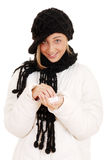 Teen girl playing with snow. Isolated Teen girl playing with snow Stock Photo
