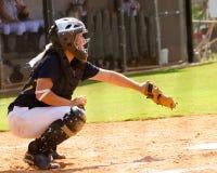 Teen girl playing softball royalty free stock image