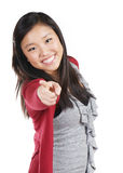 Teen Girl Pointing At You Royalty Free Stock Photography