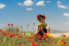 Teen girl in poppy field outdoor Stock Photography