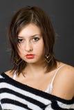 Teen girl portrait. Over black Stock Photography