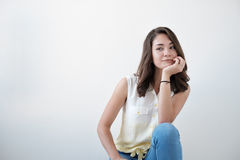 Teen girl portrait, over white background Royalty Free Stock Images