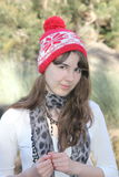 Teen girl portrait with beanie hat Royalty Free Stock Image