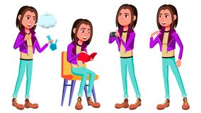 Free Teen Girl Poses Set Vector. Smoking Cannabis. Adult People. Casual. For Advertisement, Greeting, Announcement Design Stock Photography - 126855602