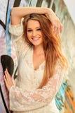Teen girl posing at the beach Stock Photo
