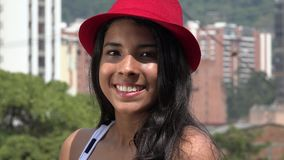 Teen Girl Posing with red Hat stock video footage