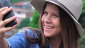 Teen Girl Posing For Selfy Stock Photography