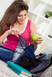 Teen girl preparing for school. Stock Photos