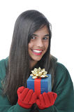 Teen Girl with Present Stock Photography