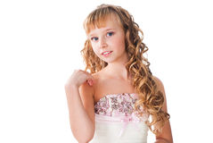 Teen girl with pretty face amazing hairs  isolated. Portrait of tender smiling teen girl with pretty face  isolated on white Royalty Free Stock Photography
