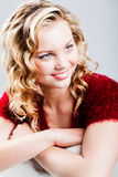 Teen girl pretty in her curly hair Royalty Free Stock Photo