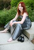 Teen girl in prom dress. Beautiful red haired girl in prom dress Stock Photo