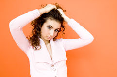 Teen Girl Pulling Back Hair Royalty Free Stock Photos