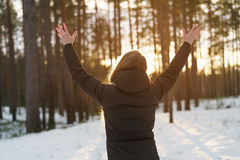 Teen girl raised hands from behind in winter pine forest in sunset stock images