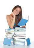 Teen girl reading book Royalty Free Stock Images