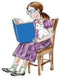 Teen girl reading with her little Maltese dog. Teen girl reading with her arm around her little Maltese dog Royalty Free Stock Image