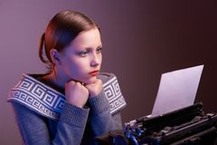 Teen girl reading something Royalty Free Stock Photography