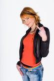 Teen girl rebel. Interesting teen girl showing finger Royalty Free Stock Image