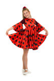 Teen girl in a red dress with polka dots Royalty Free Stock Image