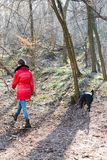 Teen girl in red jacket walking with a dogs in the forest - Cold morning time stock photos