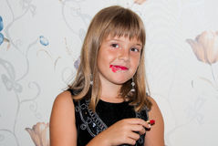 Teen girl with red lipstick. And make up Stock Image