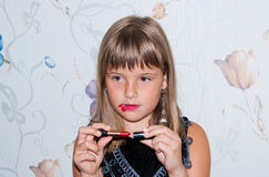 Teen girl with red lipstick. And make up Stock Photos