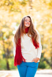 Teen girl in red scarf Stock Photography