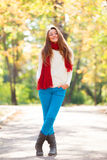Teen girl in red scarf Royalty Free Stock Image