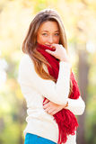 Teen girl in red scarf Royalty Free Stock Images
