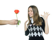 Teen girl  rejoice in red rose Stock Photos