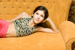 Teen girl rest royalty free stock photography