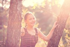 Teen girl rest on the nature Stock Photography
