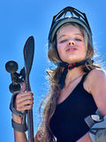 Teen girl rides his skateboard Stock Images