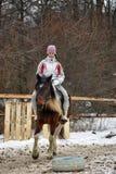 Teen girl riding a horse Stock Image