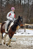 Teen girl riding a horse Royalty Free Stock Photography