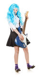 Teen Girl Rockstar. Teen girl playing on a guitar, isolated on white Stock Photo