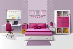 Teen Girl Room Interior Realistic Image Stock Image