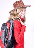 Teen girl with rucksack Royalty Free Stock Photo