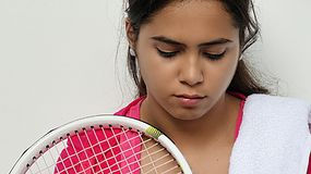 Teen Girl Sad Athlete. A young hispanic female teen Royalty Free Stock Photos