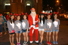 Teen girl , Santa Claus, Christmas night Stock Images