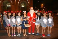 Teen girl , Santa Claus, Christmas night Stock Photo