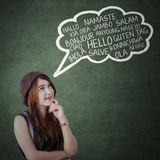 Teen girl say different language Stock Photography