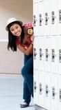 Teen Girl At School Lockers Stock Photos