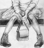 Teen girl seated on the coach. Hand drawn pencil sketch of a teen girl seated on the coach with a little bag in her hands. She is wearing dress and warm boots Stock Photo